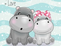 two cute hippo cartoon on striped background