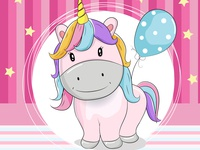 greeting card cute unicorn with ballons