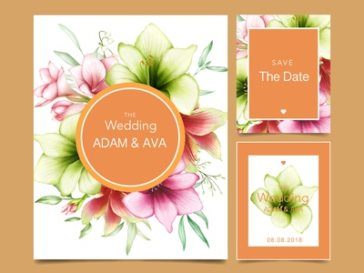 wedding invitation amaryllis watercolor flower card template