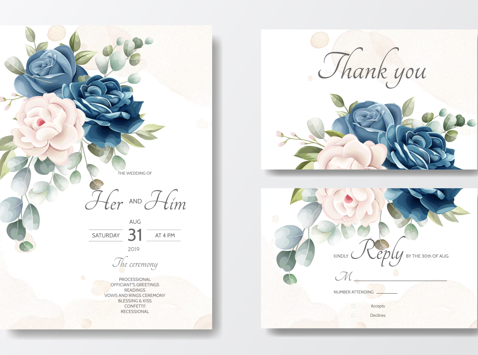 Beautiful Floral Wreath Wedding Invitation Card Template By