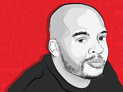 Kiese Laymon vector portrait author illustrator