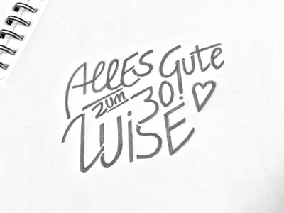 Alles Gute! pencil type birthday card sketch lettering letter handlettering