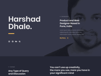 Harshad Dhale Website dark theme website minimal web typography branding design