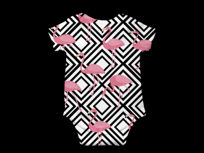 Geometric Flamingos - Baby Grow 04