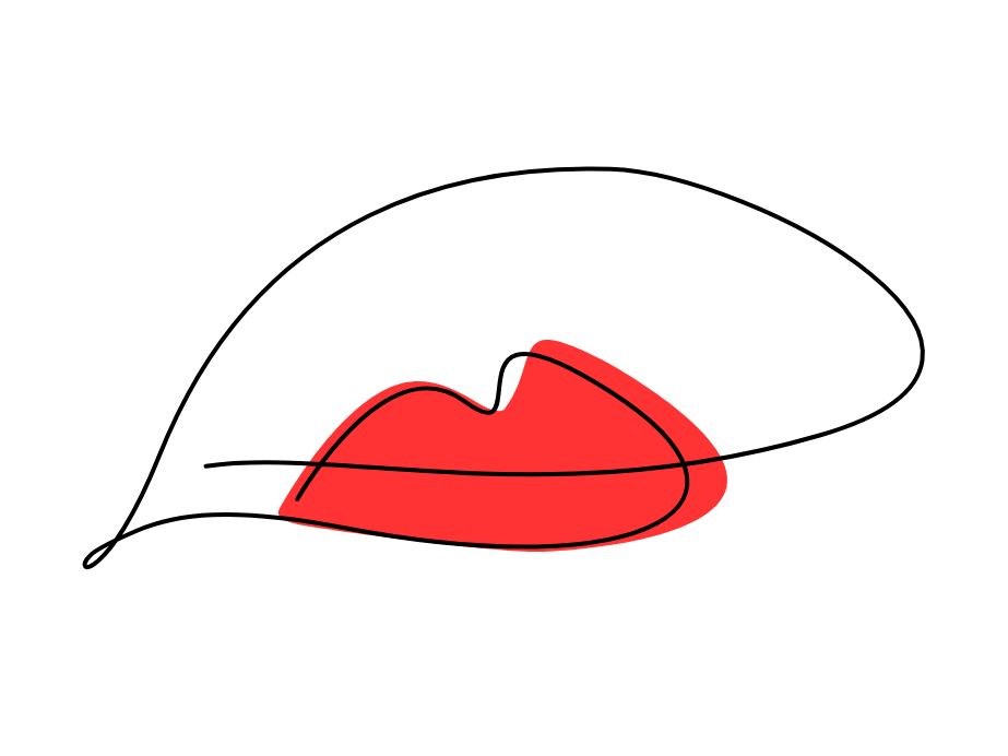 Single line lips series - Red minimalist linear continuous line line art lips beauty vector illustration vector one line