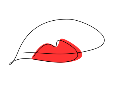Single line lips series - Red