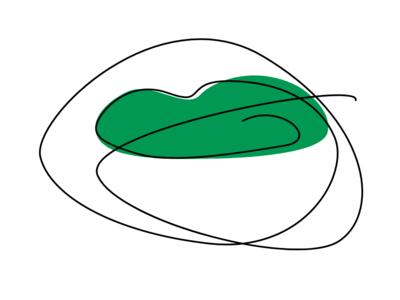 Single line lips series - Green