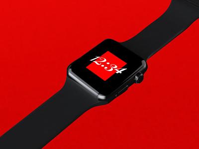 Apple Watch Face 12:34 smartwatch red idea visual apple design digital watchos watchface watch apple