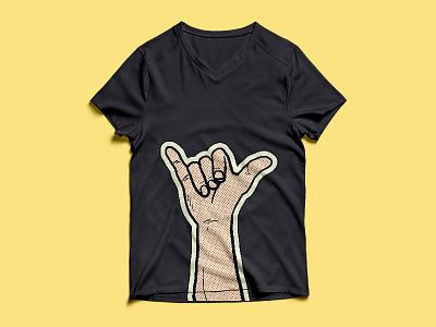 Hang Loose big sur surf freetime creative illustrator surfing black pop art popart liechtenstein royliechtenstein yellow clothing apparel illustration digital designer digital design