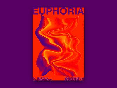 Poster Euphoria orangeisthenewblack illustrator photoshop liquiphy warping exhibition paper colourful risograph screenprinting offset poster design print digital