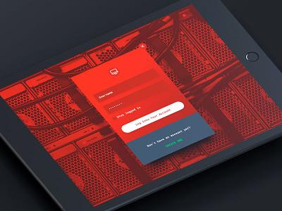 Server Management Account Login hud ipad red small business solution storage server app concept mobile app interface web design digital