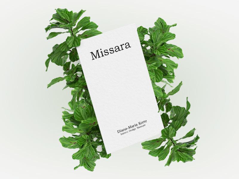 Missara Business Cards sleek offset monochrome smallbusiness business greenery plants minimal clean printing design stationery design