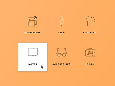 Foundershop's categories webshop categories menu