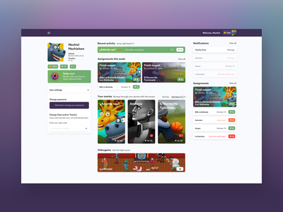 Dashboard for learning platform gamification e-learning student webpage ux dashboard ui