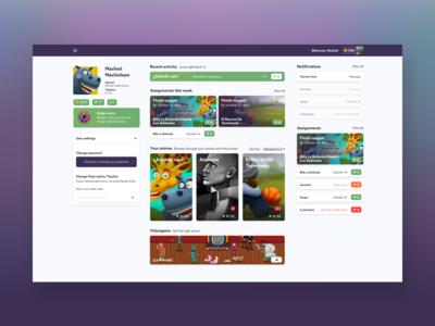 Dashboard for learning platform