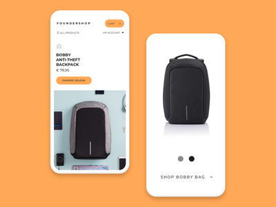 Foundershop discover product page orange store website webpage webshop shop ux ui