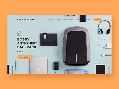 Foundershop discover product page desktop orange store website webshop webpage ux ui shop