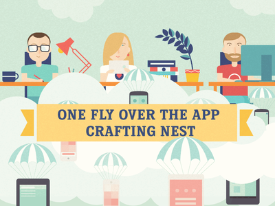 One fly over the app crafting nest illustration web best flat ios iphone ipad character man woman girl boy