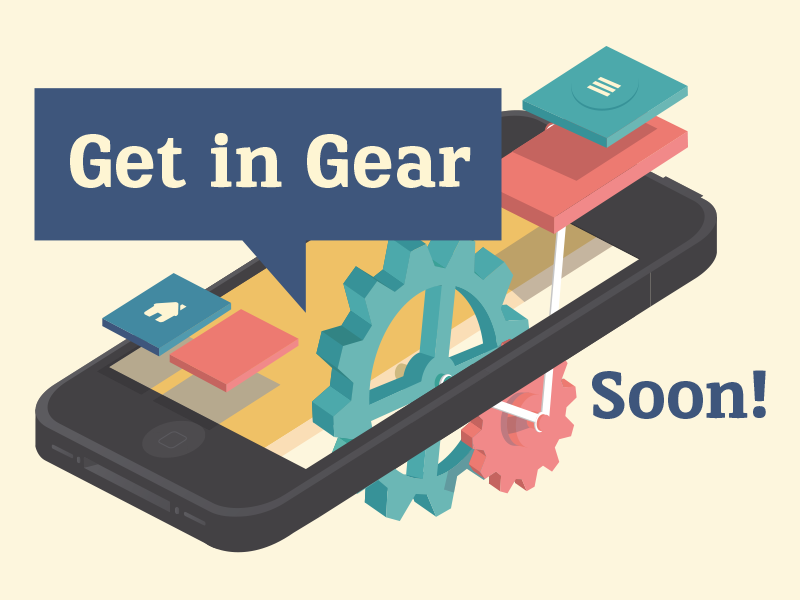 Get in Gear illustration gear device iphone application design technology ios flat ios7