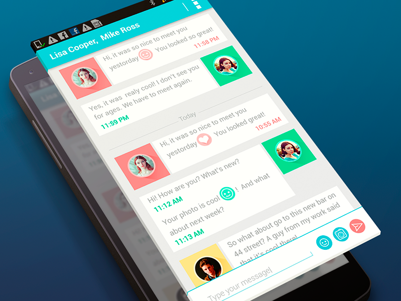 Dialog screen flat design app android chat messanger ui interface ux dialog