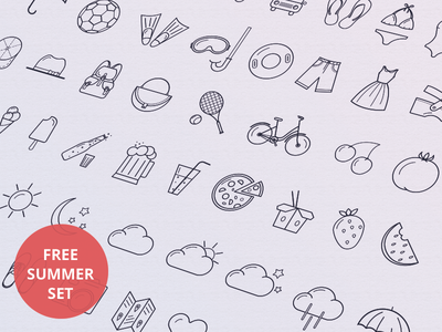 Summer icons ai icons free ios set ios7 iphone application design flat psd android