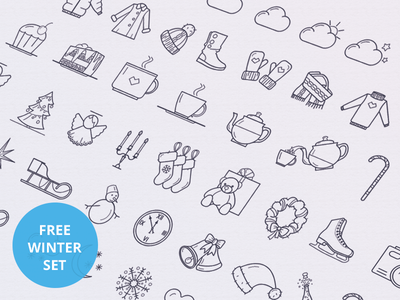 Winter Icon Set icons free ios set ios7 iphone application design flat psd ai android