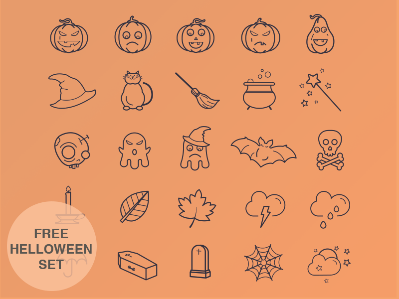 Halloween Icon Set icons free ios set ios7 iphone design illustration flat psd ai halloween