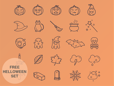 Halloween Icon Set icons free ios set ios7 iphone design illustration flat psd ai halloween