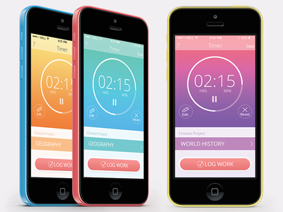 Timer App   flat design app ios ios7 timer ui interface ux apple android colors