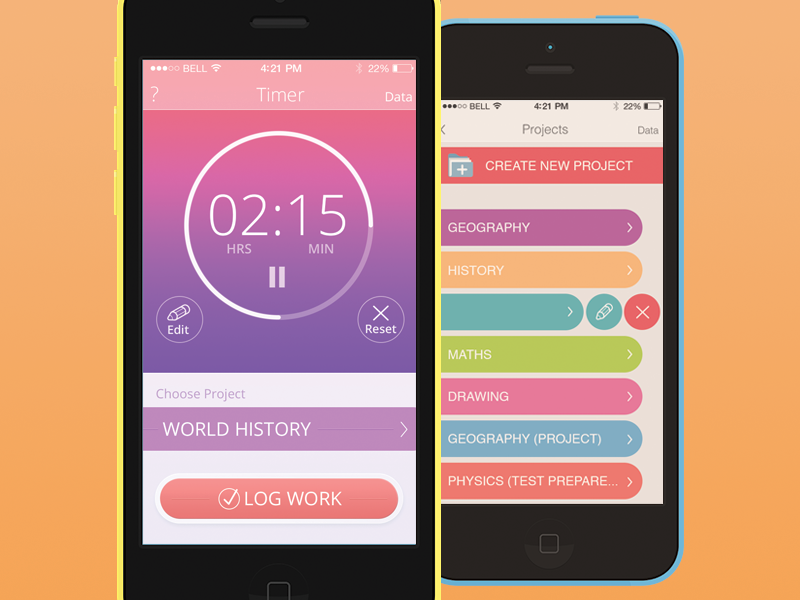 Timer (part 2) flat design app ios ios7 timer ui interface ux apple android colors