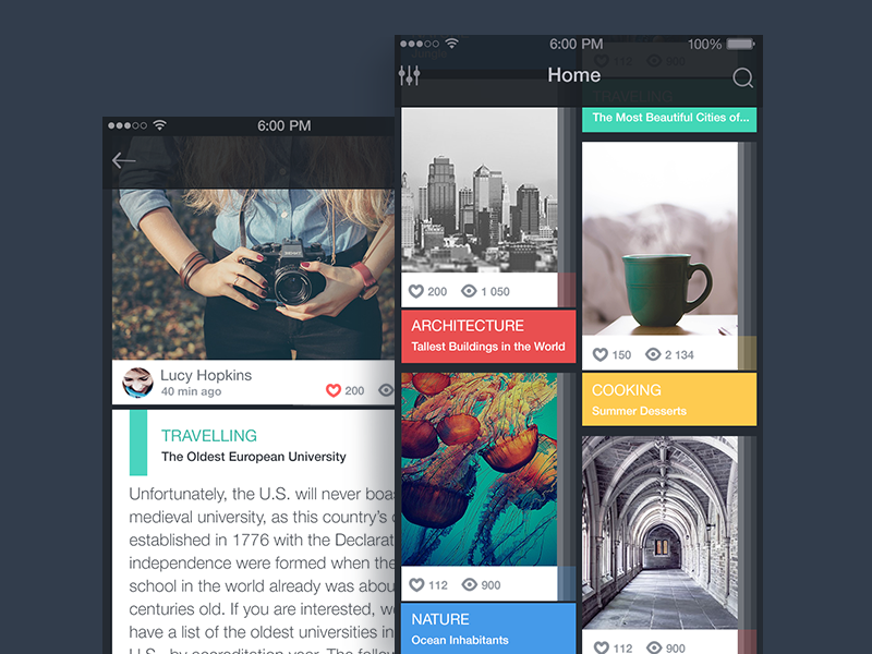 Blog App colors android apple ux interface ui ios app design flat blog