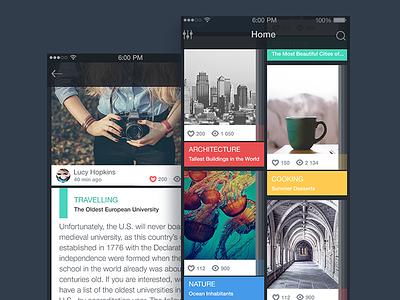 Blog App colors android apple ux interface ui ios app design flat blog