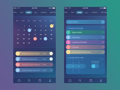 Time Management App interface ux ui colors calendar ios8 ios design app