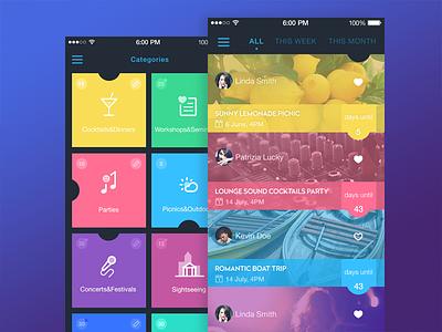 Event App  icon material app design ios ios8 event colors ui ux interface