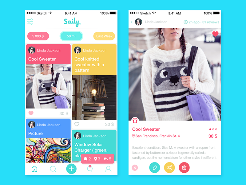 Saily App interface ux ui colors event ios8 ios design app material icon