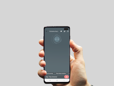 Extreme Personal voice Assistant on S10 Plus Mockup artificial intelligence mobile ui ai mobile ux branding thanos marvelcomics marvel invite design
