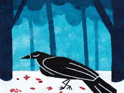 Walking Crow bird illustration trees cute cute art acrylic painting bird colorful design illustration