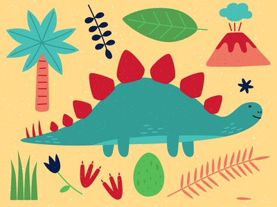 Stegosaurus design animal minimal vector illustration flover leaves footprints egg palmtree volcano dinosaurus dinosaur dino