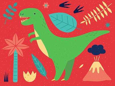Tyrannosaurus design vector illustration animal minimal footprints egg leaves volcano palmtree dinosaur dinosaurus dino tyrannosaur tyrannosaurus rex tyrannosaurus