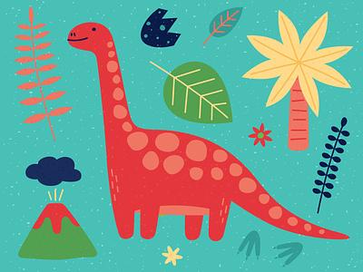 Diplodocus dinosaur animal minimal vector illustration design flovers leaves egg palmtree volcano dinosaurs dinosaurus dino diplodoc diplodocus
