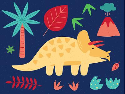Triceratops volcano egg dinosaurus dinosaur dino design animal minimal vector illustration triceratops