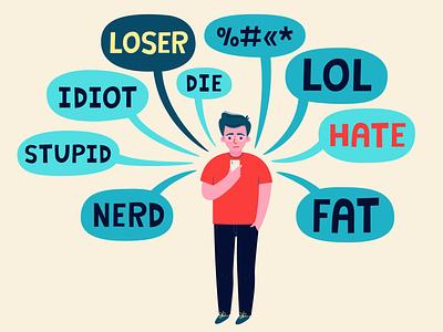 Cyber bulliying fat bubble messages cyberbullying teenager vector illustration phone hate idiot stupid nerd loser lol man cyber bulliying bullying cyber bulling