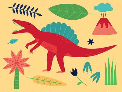 Spinosaurus icon palmtree footprints leaves animal minimal vector illustration volcano dinosaurs dinosaurus dinosaur dino