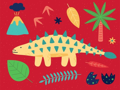 Ankylosaurus icon palmtree leaves footprints egg volcano minimal vector dinosaurs dinosaurus dinosaur dino ankylosaurus