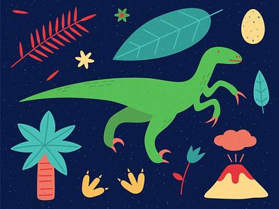 Veloceraptor palmtree vector illustration minimal footprints animal volcano dinosaurs dinosaurus dino