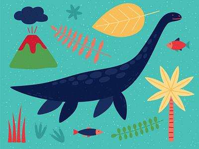 Plesiosaurus logo dinosaurs palmtree footprints dinosaur animal volcano dinosaurus dino plesiosaur plesiosaurus