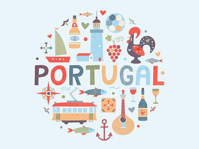 Portuguese elements vector fish mosaic grape logo minimal football vine porto rooster ship lighthouse tram lisbon portugues portuguese portugal