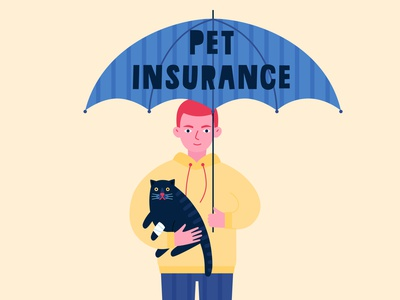 Pet insurance paw veterinarian vector logo help clinic veterinary animal umbrella insurance cat pet