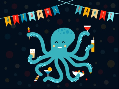 Octopus party sea animal candy beer coctail cheese party event party octopuss octopus illustration vector