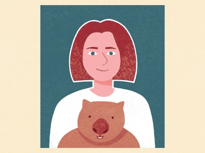 Self-portrait with a wombat australia design minimal animal illustration drawing backlit wombat
